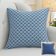 CYALZ Blue Streifen Gittermuster Couch Kissen Office Nap Hold Kissen Auto Kissen Nachttisch Sofa Upscale Kissen Schützen Sie die Taille Kissen Back Pad (Dieses Produkt nur verkaufen Kissen) 50 * 50cm