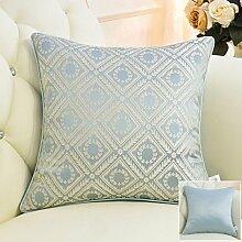 CYALZ Blue Stripe Gitter Blumenmuster Couch Kissen Office Nap Hold Kissen Car Kissen Nachttisch Sofa Upscale Kissen Schützen Sie die Taille Kissen Back Pad (Dieses Produkt nur verkaufen Kissen) 50 * 50cm