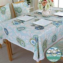 CYALZ Blue White Tuch Tischdecke Blumenmuster Rechteck Soft Modern Einfache Mode Upscale Tischdecke Gemütliches Restaurant Wohnzimmer Wohnzimmer Balkon Küche Hotel Couchtisch Teetisch Esstisch Tischgeschirr Heimtextilien (Dieses Produkt verkauft nur Tischtücher) 110 * 160cm