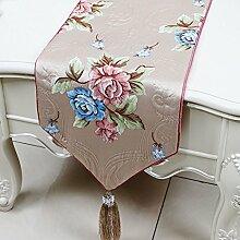 CYALZ Braun Blau Grün Rosa Blumenmuster Satin Tischläufer Modern Einfache Mode Upscale Wohnzimmer Küche Restaurant Hotel Heimtextilien (Dieses Produkt verkauft nur Tischläufer) 33 * 200cm