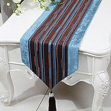 CYALZ Braun Blau Streifen Tuch Tischläufer Modern Einfache Mode Upscale Wohnzimmer Küche Restaurant Hotel Heimtextilien (Dieses Produkt verkauft nur Tischläufer) 33 * 230cm