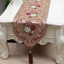 CYALZ Braun Blumenmuster Tuch Tischläufer Tischdecke Couchtisch Tuch Lang Tischdecke Modern Einfache Mode Upscale Wohnzimmer Küche Restaurant Hotel Heimtextilien (Dieses Produkt verkauft nur Tischläufer) 33 * 200cm