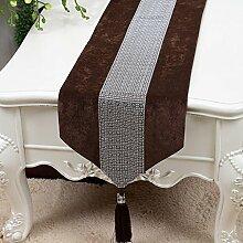 CYALZ Braun Grau Blume Muster Tuch Tischläufer Tischdecke Couchtisch Tuch Lang Tischdecke Modern Einfache Mode Upscale Wohnzimmer Küche Restaurant Hotel Heimtextilien (Dieses Produkt verkauft nur Tischläufer) 33 * 230cm