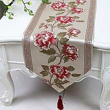 CYALZ Braun Rosa Blumenmuster Tuch Tischläufer Modern Einfache Mode Upscale Wohnzimmer Küche Restaurant Hotel Heimtextilien (Dieses Produkt verkauft nur Tischläufer) 33 * 180cm