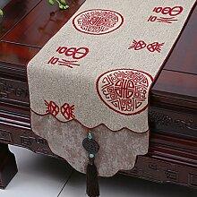CYALZ Braun Rot Blume Muster Tuch Tischläufer