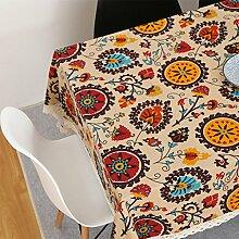 CYALZ Braun Rot Gelb Blume Muster Tuch Tischdecke Rechteck Soft Modern Einfache Mode Upscale Tischdecke Gemütliches Restaurant Wohnzimmer Wohnzimmer Balkon Küche Hotel Couchtisch Teetisch Esstisch Tischgeschirr Heimtextilien (Dieses Produkt verkauft nur Tischtücher) 140 * 200cm