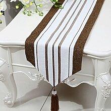CYALZ Braun Weiß Streifen Tuch Tischläufer Modern Einfache Mode Upscale Wohnzimmer Küche Restaurant Hotel Heimtextilien (Dieses Produkt verkauft nur Tischläufer) 33 * 150cm
