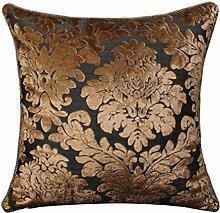 CYALZ Brown Blumenmuster Couch Kissen Office Nap Hold Kissen Auto Kissen Bedside Sofa Upscale Kissen Schützen Sie die Taille Kissen Back Pad (Dieses Produkt nur verkaufen Kissen) 45 * 45cm