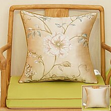 CYALZ Brown Blumenmuster Couch Kissen Office Nap Hold Kissen Auto Kissen Nachttisch Sofa Upscale Kissen Schützen Sie die Taille Kissen Back Pad (Dieses Produkt nur verkaufen Kissen) 45 * 45cm