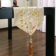 CYALZ Brown Blumenmuster Tuch Tischläufer Tischdecke Couchtisch Tuch Lang Tischdecke Modern Einfache Mode Upscale Wohnzimmer Küche Restaurant Hotel Heimtextilien (Dieses Produkt verkauft nur Tischläufer) 34 * 160cm