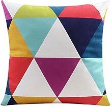 CYALZ Bunte Geometrie Muster Couch Kissen Office Nap Hold Kissen Auto Kissen Nachttisch Sofa Upscale Kissen Schützen Sie die Taille Kissen Back Pad (Dieses Produkt nur verkaufen Kissen) 55 * 55cm