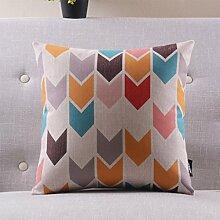 CYALZ Farbe Geometrisches Streifenmuster Couch Kissen Büro Nap Hold Kissen Auto Kissen Nachttisch Sofa Upscale Kissen Schützen Sie die Taille Kissen Back Pad (Dieses Produkt nur verkaufen Kissen) 45 * 45cm