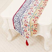 CYALZ Farbe Mehrfarbig Streifen Blume Muster Tuch Tischläufer Modern Einfache Mode Upscale Wohnzimmer Küche Restaurant Hotel Heimtextilien (Dieses Produkt verkauft nur Tischläufer) 33 * 200cm