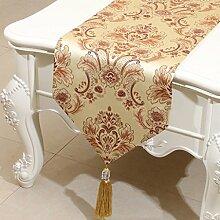 CYALZ Gelb Braun Blumenmuster Satin Tischläufer Modern Einfache Mode Upscale Wohnzimmer Küche Restaurant Hotel Heimtextilien (Dieses Produkt verkauft nur Tischläufer) 33 * 200cm