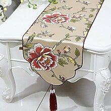 CYALZ Gelb Rosa Grün Blume Muster Tuch Tischläufer Modern Einfache Mode Upscale Wohnzimmer Küche Restaurant Hotel Heimtextilien (Dieses Produkt verkauft nur Tischläufer) 33 * 180cm
