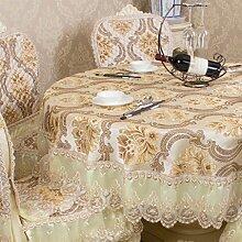 CYALZ Gelb Seide Tischdecke Blumenmuster Rund Weich Modern Einfache Mode Upscale Tischdecke Gemütliches Restaurant Wohnzimmer Wohnzimmer Balkon Küche Hotel Couchtisch Teetisch Esstisch Geschirr Heimtextilien (Dieses Produkt verkauft nur Tischtücher) Durchmesser 180cm