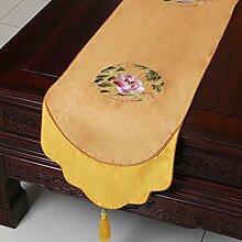 CYALZ Gelbe Blume Muster Tuch Tischläufer Modern Einfache Mode Upscale Wohnzimmer Küche Restaurant Hotel Heimtextilien (Dieses Produkt verkauft nur Tischläufer) 33 * 150cm
