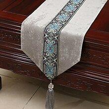CYALZ Grau Blume Muster Tuch Tischläufer Modern Einfache Mode Upscale Wohnzimmer Küche Restaurant Hotel Heimtextilien (Dieses Produkt verkauft nur Tischläufer) 33 * 150cm