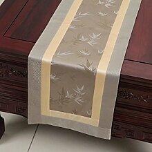 CYALZ Grau Blume Muster Tuch Tischläufer Tischdecke Couchtisch Tuch Lang Tischdecke Modern Einfache Mode Upscale Wohnzimmer Küche Restaurant Hotel Heimtextilien (Dieses Produkt verkauft nur Tischläufer) 33 * 300cm