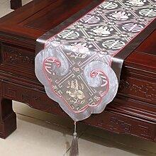 CYALZ Grau Blumenmuster Satin Tischläufer Modern Einfache Mode Upscale Wohnzimmer Küche Restaurant Hotel Heimtextilien (Dieses Produkt verkauft nur Tischläufer) 35 * 180cm
