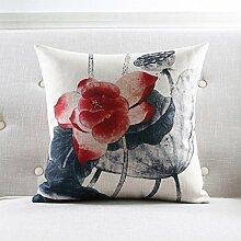 CYALZ Grau rot Lotus Blumenmuster Couch Kissen Büro Nap Hold Kissen Auto Kissen Nachttisch Sofa Upscale Kissen Schützen Sie die Taille Kissen Back Pad (Dieses Produkt nur verkaufen Kissen) 60 * 60cm
