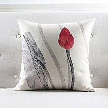 CYALZ Grau rot Lotus Blumenmuster Couch Kissen Büro Nap Hold Kissen Auto Kissen Nachttisch Sofa Upscale Kissen Schützen Sie die Taille Kissen Back Pad (Dieses Produkt nur verkaufen Kissen) 45 * 45cm