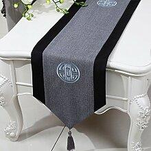 CYALZ Grau Schwarzes Streifentuch Tischläufer Modern Einfache Mode Upscale Wohnzimmer Küche Restaurant Hotel Heimtextilien (Dieses Produkt verkauft nur Tischläufer) 33 * 150cm