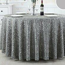 CYALZ Grau Streifen Blumenmuster Stoff Tischdecke Weich Modern Einfach Mode Upscale Wohnzimmer Küche Restaurant Hotel Heimtextilien (Dieses Produkt verkauft nur Tischtücher) Durchmesser 240cm