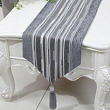 CYALZ Grau Streifen Tuch Tischläufer Modern Einfache Mode Upscale Wohnzimmer Küche Restaurant Hotel Heimtextilien (Dieses Produkt verkauft nur Tischläufer) 33 * 200cm