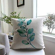 CYALZ Green Blätter Muster Couch Kissen Office Nap Hold Kissen Auto Kissen Nachttisch Sofa Upscale Kissen Schützen Sie die Taille Kissen Back Pad (Dieses Produkt nur verkaufen Kissen) 53 * 53cm