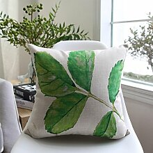 CYALZ Green Blätter Muster Couch Kissen Office Nap Hold Kissen Auto Kissen Nachttisch Sofa Upscale Kissen Schützen Sie die Taille Kissen Back Pad (Dieses Produkt nur verkaufen Kissen) 60 * 60cm