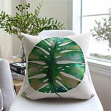 CYALZ Green Blätter Muster Couch Kissen Office Nap Hold Kissen Auto Kissen Nachttisch Sofa Upscale Kissen Schützen Sie die Taille Kissen Back Pad (Dieses Produkt nur verkaufen Kissen) 45 * 45cm