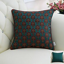 CYALZ Green Brown Blumenmuster Couch Kissen Office Nap Hold Kissen Auto Kissen Nachttisch Sofa Upscale Kissen Schützen Sie die Taille Kissen Back Pad (Dieses Produkt nur verkaufen Kissen) 50 * 50cm