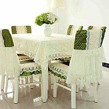 CYALZ Green Lace Tischdecke Blumenmuster Rechteck Soft Modern Einfache Mode Upscale Tischdecke Gemütliches Restaurant Wohnzimmer Wohnzimmer Balkon Küche Hotel Couchtisch Teetisch Esstisch Geschirr Heimtextilien (Dieses Produkt verkauft nur Tischtücher) 110 * 160cm