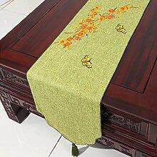 CYALZ Grün Orange Farbe Blumenmuster Tuch Tischläufer Tischdecke Couchtisch Tuch Lang Tischdecke Modern Einfache Mode Upscale Wohnzimmer Küche Restaurant Hotel Heimtextilien (Dieses Produkt verkauft nur Tischläufer) 33 * 150cm