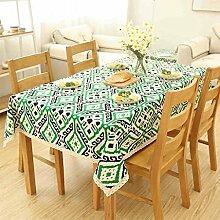 CYALZ Grün Weiß Leinen Tischdecke Blumenmuster Rechteck Soft Modern Einfache Mode Upscale Tischdecke Gemütliches Restaurant Wohnzimmer Wohnzimmer Balkon Küche Hotel Couchtisch Teetisch Esstisch Geschirr Heimtextilien (Dieses Produkt verkauft nur Tischtücher) 140 * 180cm