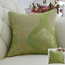 CYALZ Grünes Blumenmuster Couch Kissen Büro Nap Hold Kissen Auto Kissen Nachttisch Sofa Upscale Kissen Schützen Sie die Taille Kissen Back Pad (Dieses Produkt nur verkaufen Kissen) 45 * 45cm