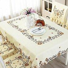CYALZ Hellgelb Braun Blume Muster Tuch Tischdecke Weich Modern Einfach Mode Upscale Wohnzimmer Küche Restaurant Hotel Heimtextilien (Dieses Produkt verkauft nur Tischtücher) 142 * 200cm