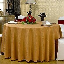CYALZ Light tan Einfarbig Polyester Tischdecke Blumenmuster Circular Soft Modern Einfache Mode Upscale Tischdecke Gemütliches Restaurant Wohnzimmer Wohnzimmer Balkon Küche Hotel Couchtisch Teetisch Esstisch Tischgeschirr Heimtextilien (Dieses Produkt verkauft nur Tischtücher) Durchmesser 260cm