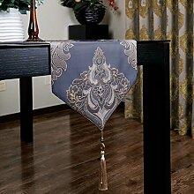 CYALZ Lila Blumenmuster Tischläufer Tischdecke Couchtisch Tuch Lang Tischdecke Modern Einfache Mode Upscale Wohnzimmer Küche Restaurant Hotel Heimtextilien (Dieses Produkt verkauft nur Tischläufer) 34 * 200cm