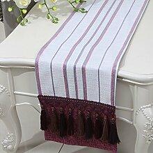 CYALZ Lila Weiß Streifen Tuch Tischläufer Modern Einfache Mode Upscale Wohnzimmer Küche Restaurant Hotel Heimtextilien (Dieses Produkt verkauft nur Tischläufer) 33 * 230cm