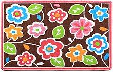 CYALZ Nylon Braun Grün Blau Rosa Blumenmuster Modern Einfach Stil Haus Textilien Türen Wohnzimmer Badezimmer Küche Balkon Treppen Schlafzimmer Bedside 0,7cm Dicke Anti glatt Teppich Decke Matte Kissen 91 * 66cm
