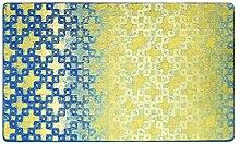 CYALZ Nylon Gelb Blau Blumenmuster Mode Modern Einfach Stil Haus Textilien Türen Wohnzimmer Badezimmer Küche Balkon Treppen Schlafzimmer Bedside 0.6cm Dicke Anti glatt Teppich Decke Matte Kissen 130 * 80cm