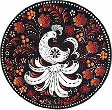 CYALZ Nylon Schwarz Weiß Orange Farbe Blumenmuster Rund Durchmesser 130cm Mode Modern Einfach Stil Haus Textilien Türen Wohnzimmer Badezimmer Küche Balkon Treppen Schlafzimmer Bedside 0.6cm Dicke Anti glatte Teppich Decke Matte Kissen 130 * 130cm