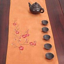 CYALZ Orange Farbe Blume Muster Tuch Tischläufer