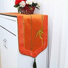 CYALZ Orange Farbe Blume Muster Tuch Tischläufer Tischdecke Couchtisch Tuch Lang Tischdecke Modern Einfache Mode Upscale Wohnzimmer Küche Restaurant Hotel Heimtextilien (Dieses Produkt verkauft nur Tischläufer) 33 * 180cm
