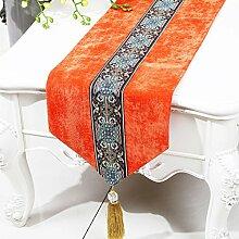 CYALZ Orange Farbe Blumenmuster Tuch Tischläufer