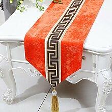 CYALZ Orange Farbe Blumenmuster Tuch Tischläufer Modern Einfache Mode Upscale Wohnzimmer Küche Restaurant Hotel Heimtextilien (Dieses Produkt verkauft nur Tischläufer) 33 * 180cm