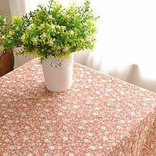 CYALZ Orange Kirschblüten Blumenmuster Tuch Tischdecke Rectangle Soft Modern Einfache Mode Upscale Tischdecke Gemütliches Restaurant Wohnzimmer Wohnzimmer Balkon Küche Hotel Couchtisch Teetisch Esstisch Geschirr Heimtextilien (Dieses Produkt verkauft nur Tischtücher) 135 * 200cm