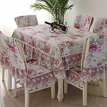 CYALZ Pink Lace Tischdecke Blumenmuster Rechteck Soft Modern Einfache Mode Upscale Tischdecke Gemütliches Restaurant Wohnzimmer Wohnzimmer Balkon Küche Hotel Couchtisch Teetisch Esstisch Geschirr Heimtextilien (Dieses Produkt verkauft nur Tischtücher) 150 * 200cm